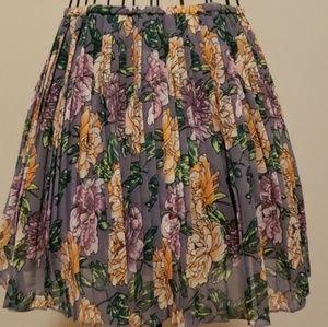 Frenchi Floral Pleated Skater Skirt